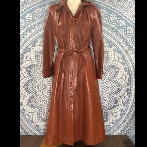 Vtg Evans Leather Brown Orange Trench Coat Jacket
